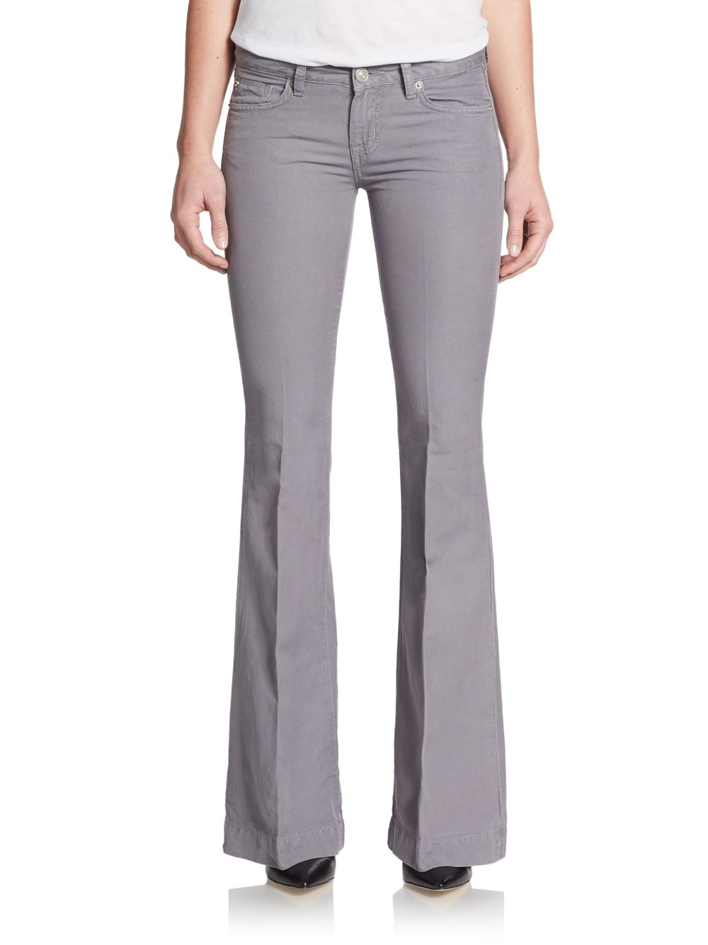 Hudson jeans Ferris Linen & Cotton Blend Flare Jeans in Gray | Lyst