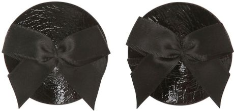 Bordelle Silk Bow and Leather Nipplets in Black