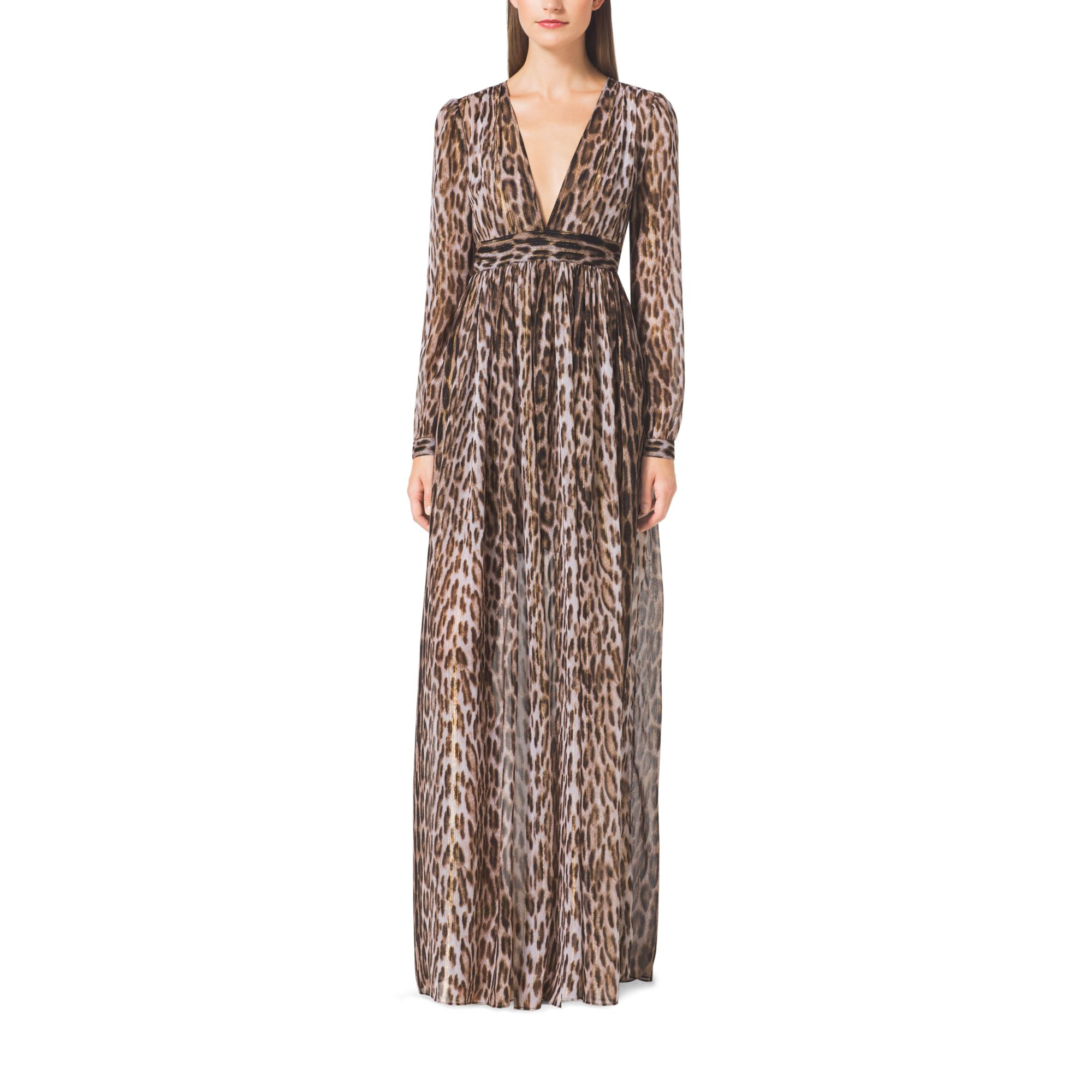 Lyst Michael Kors Leopard Print Maxi Dress In Brown