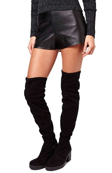Topshop High Waist Faux Leather Shorts in Black | Lyst