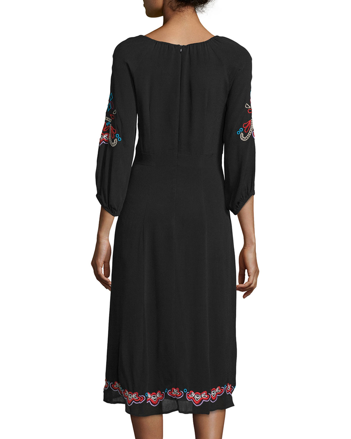 Nanette lepore 3/4-sleeve Midi Dress With Embroidery in ...
