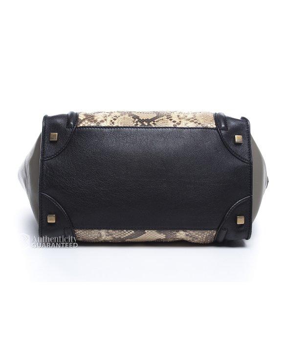 celine nano luggage bag price - C��line Pre-owned Python Tri Color Mini Luggage Bag in Animal (grey ...