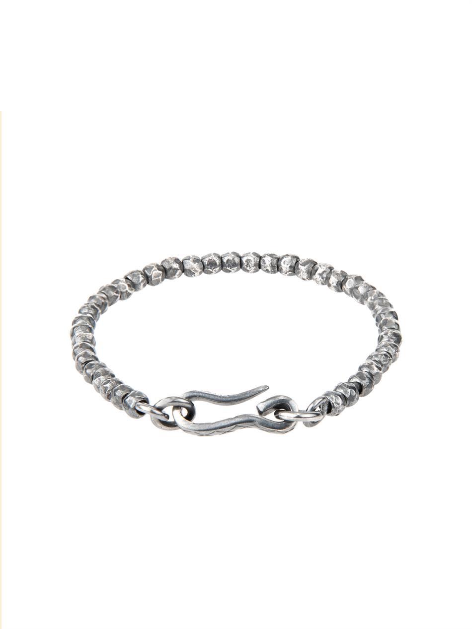 bottega veneta oxidised silver bracelet in metallic for