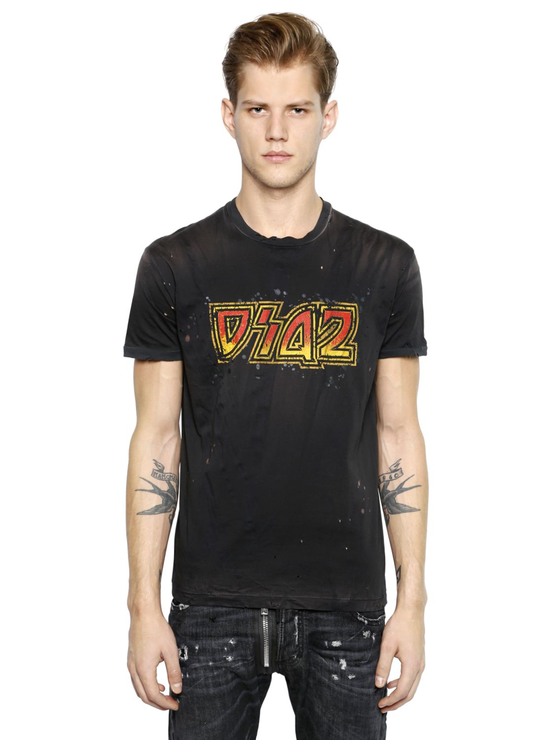 Dsquared dsq2 printed faded cotton t shirt in black for for Faded color t shirts