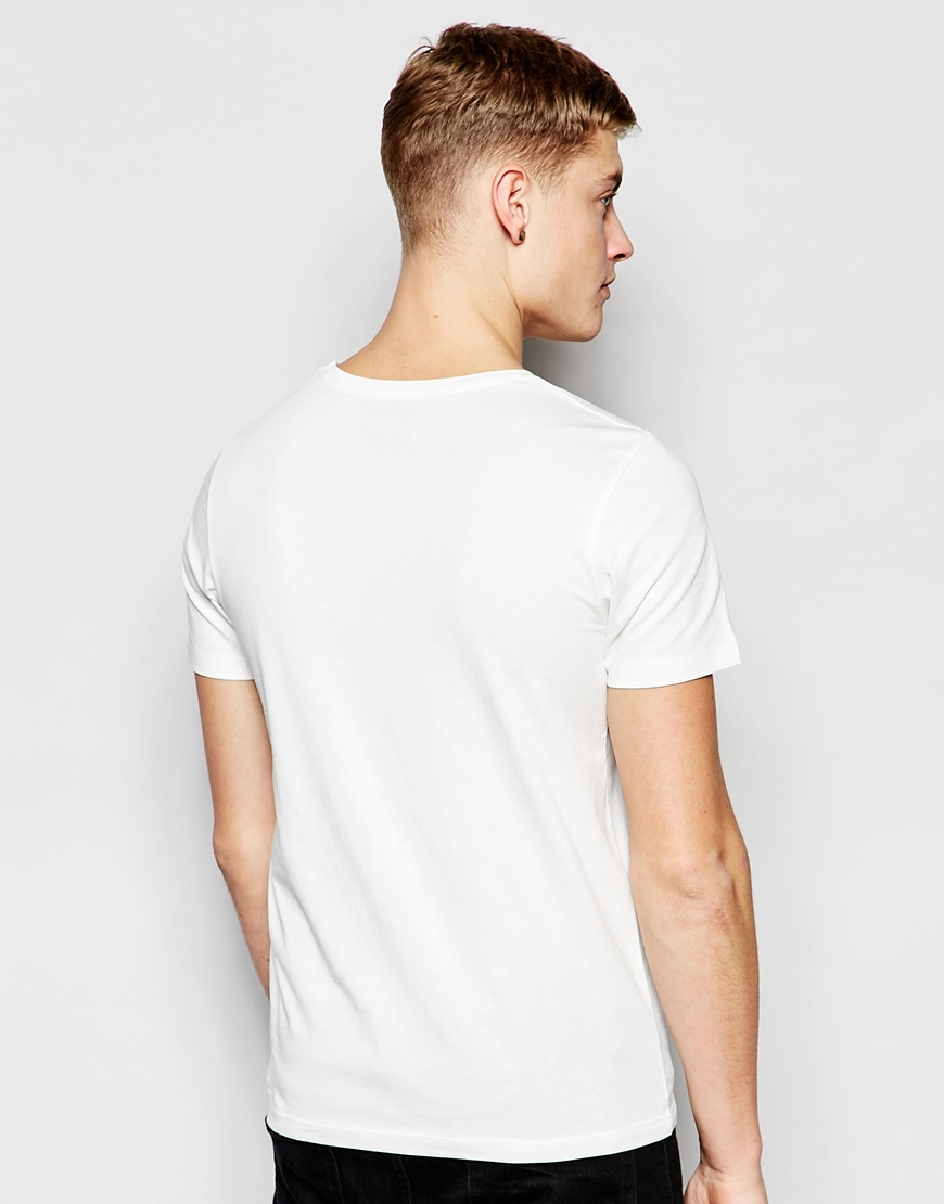 jack jones t shirt with chest logo print in slim fit in. Black Bedroom Furniture Sets. Home Design Ideas
