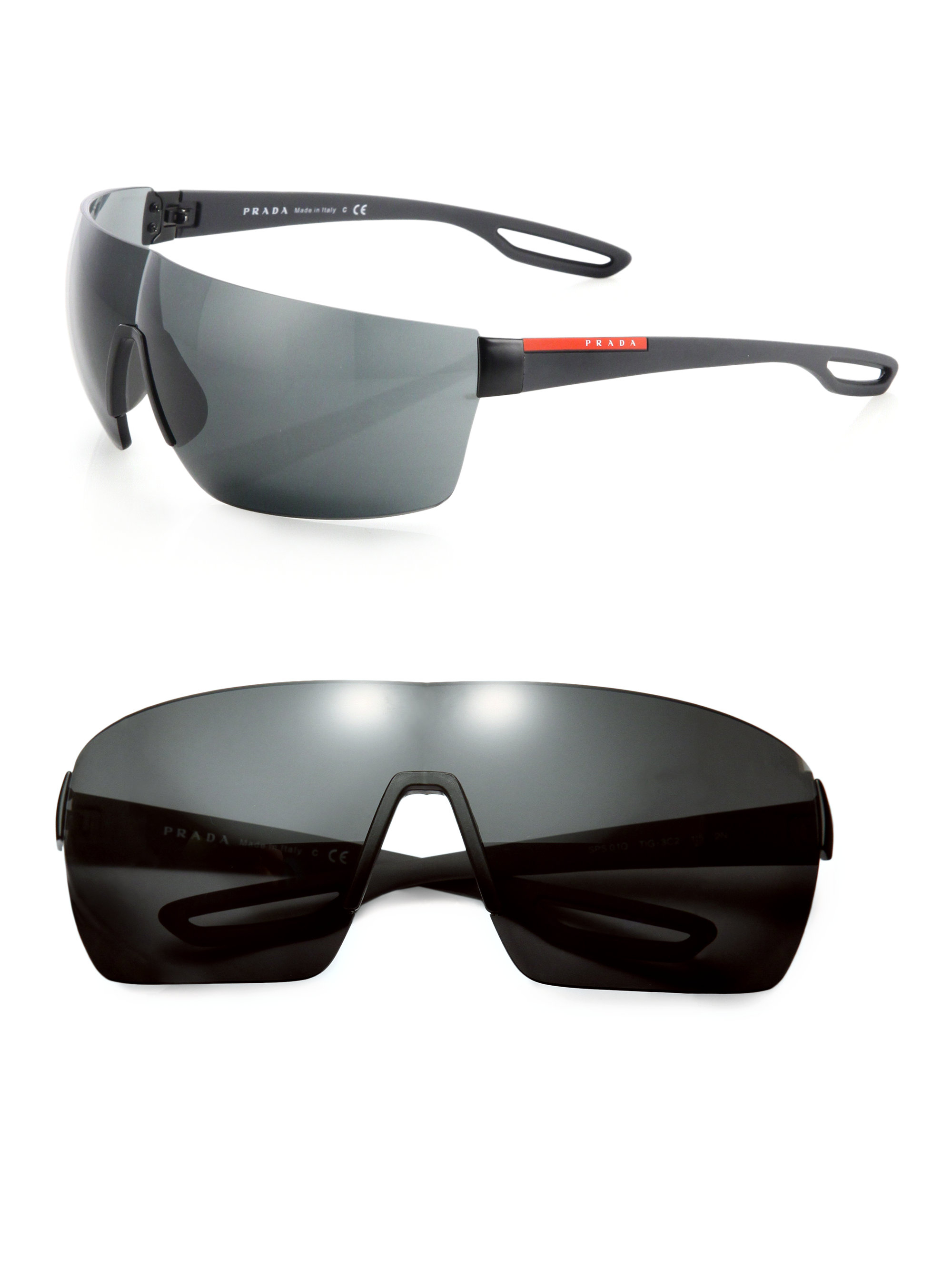 84e0cc80cd77 ... australia lyst prada 38mm injected rimless rectangle sunglasses in  black for men bd6e1 1bcea