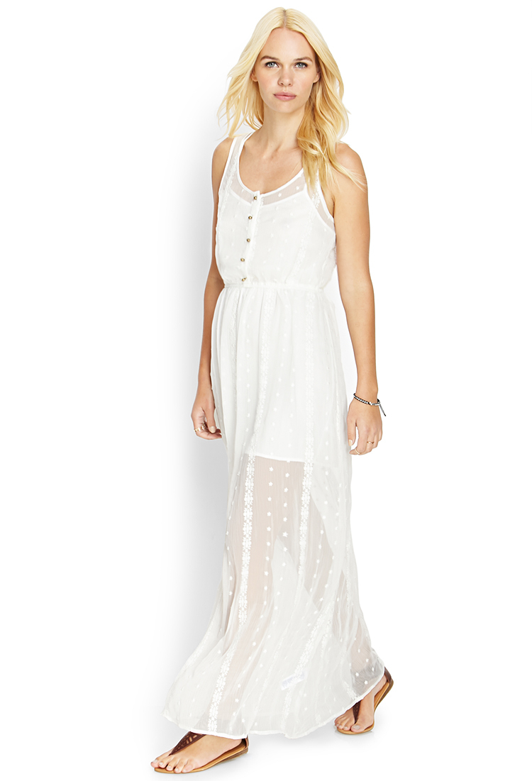 Forever 21 Embroidered Lace Maxi Dress in White | Lyst