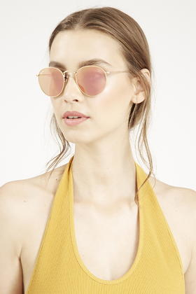 f28865050a109 ... canada lyst topshop gold frame round metal sunglasses by ray ban in pink  41c28 a8c10