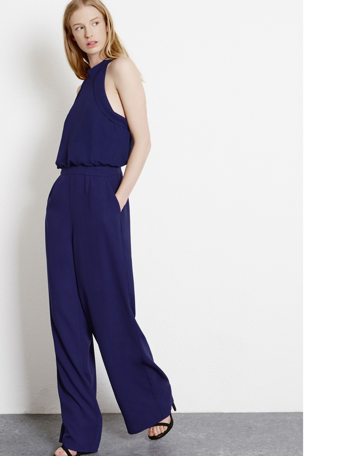 0a1acaf375d6 Warehouse Tie Neck Jumpsuit in Blue - Lyst