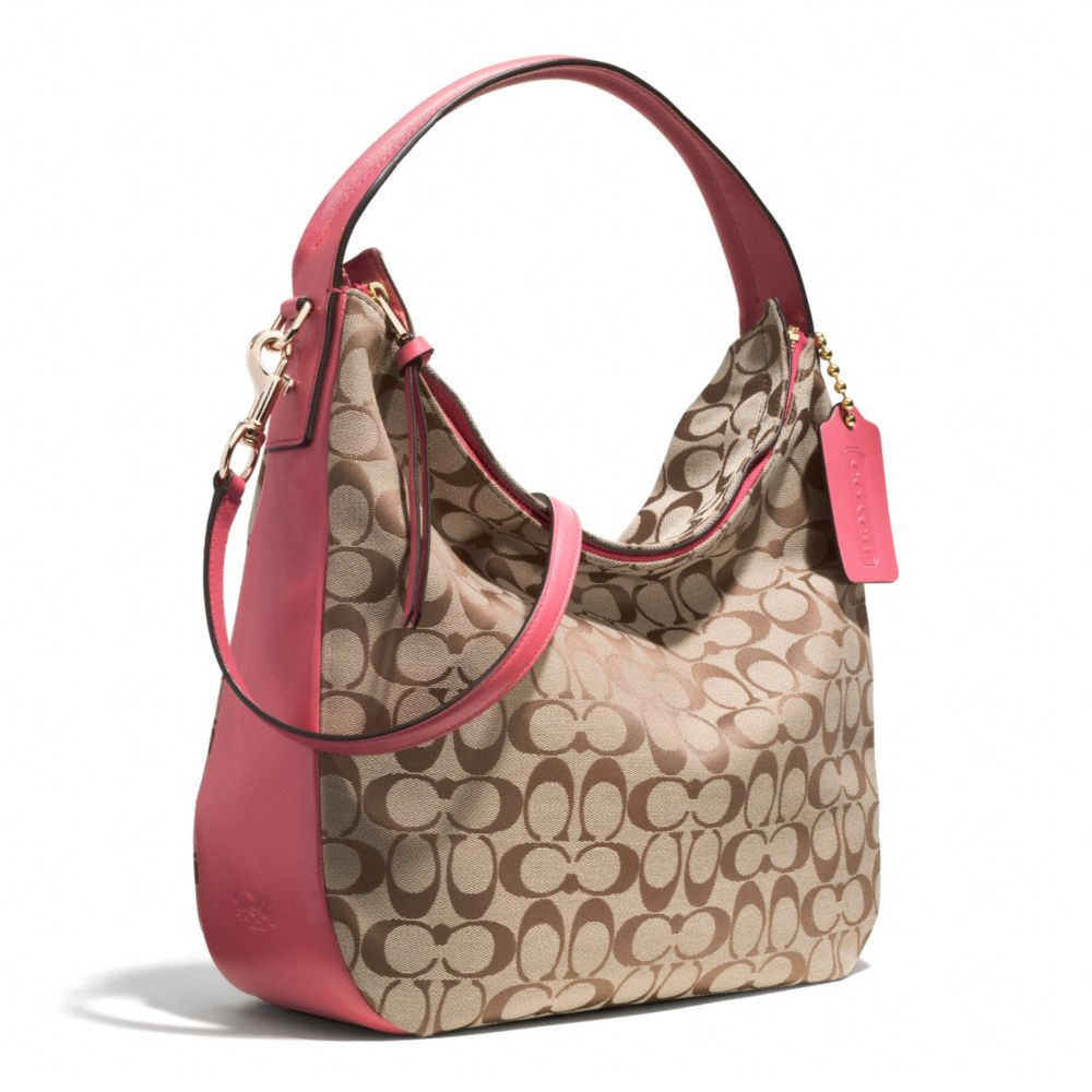 ea194eadac Lyst - COACH Bleecker Sullivan Hobo Bag in Signature Fabric in Pink