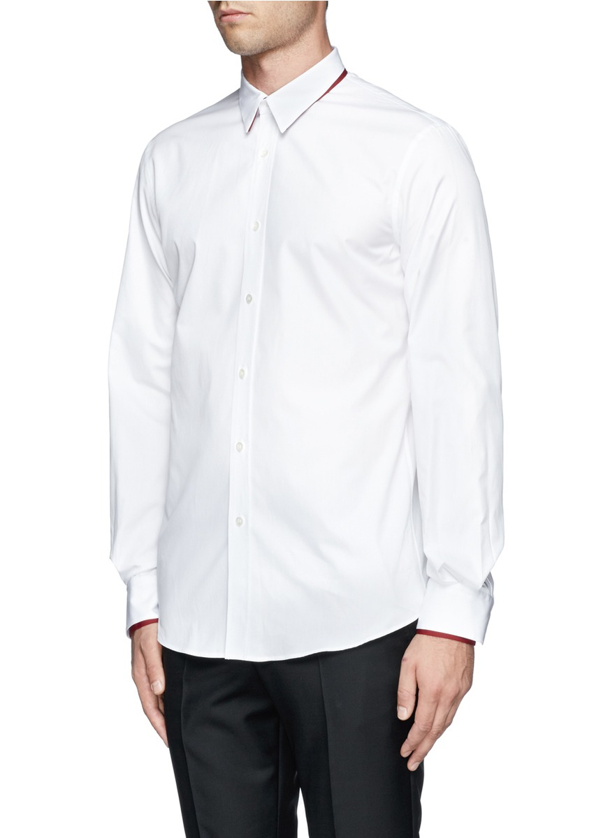 Alexander mcqueen double layer collar and cuff shirt in for Cuff shirts for men