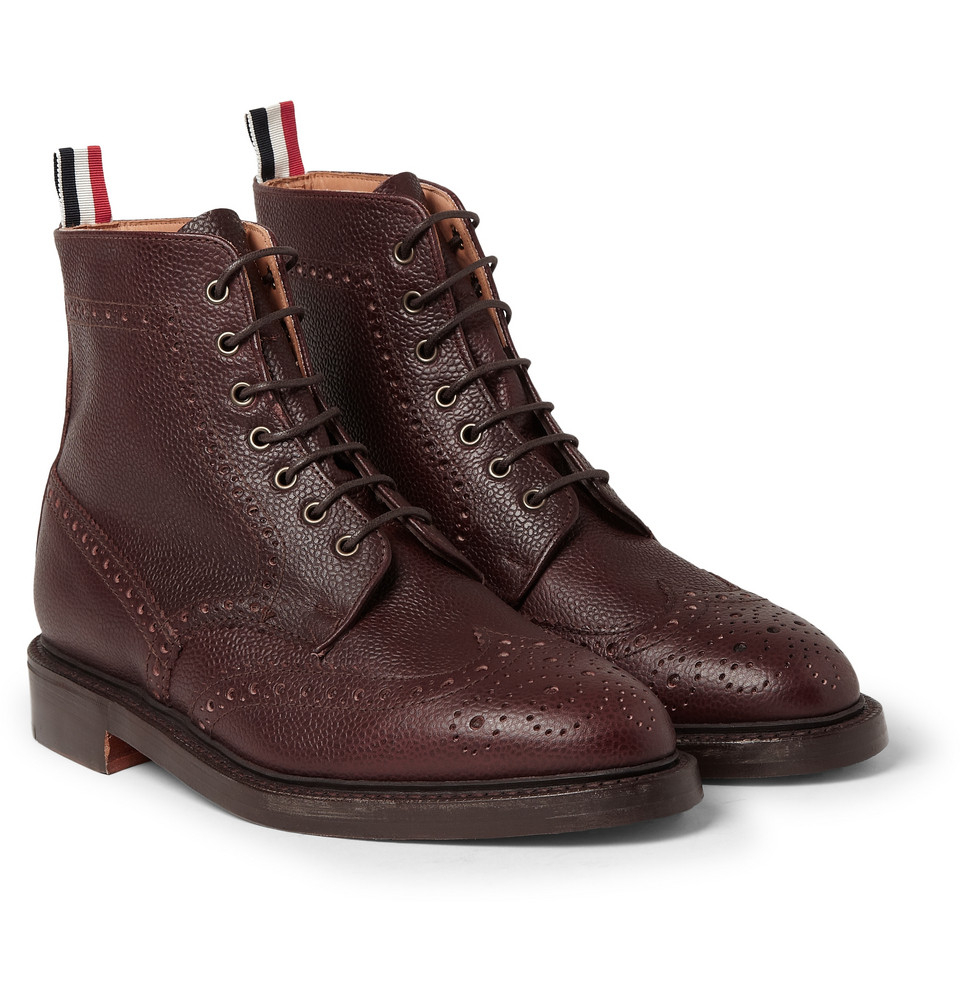 Lyst Thom Browne Pebble Grain Leather Brogue Boots In