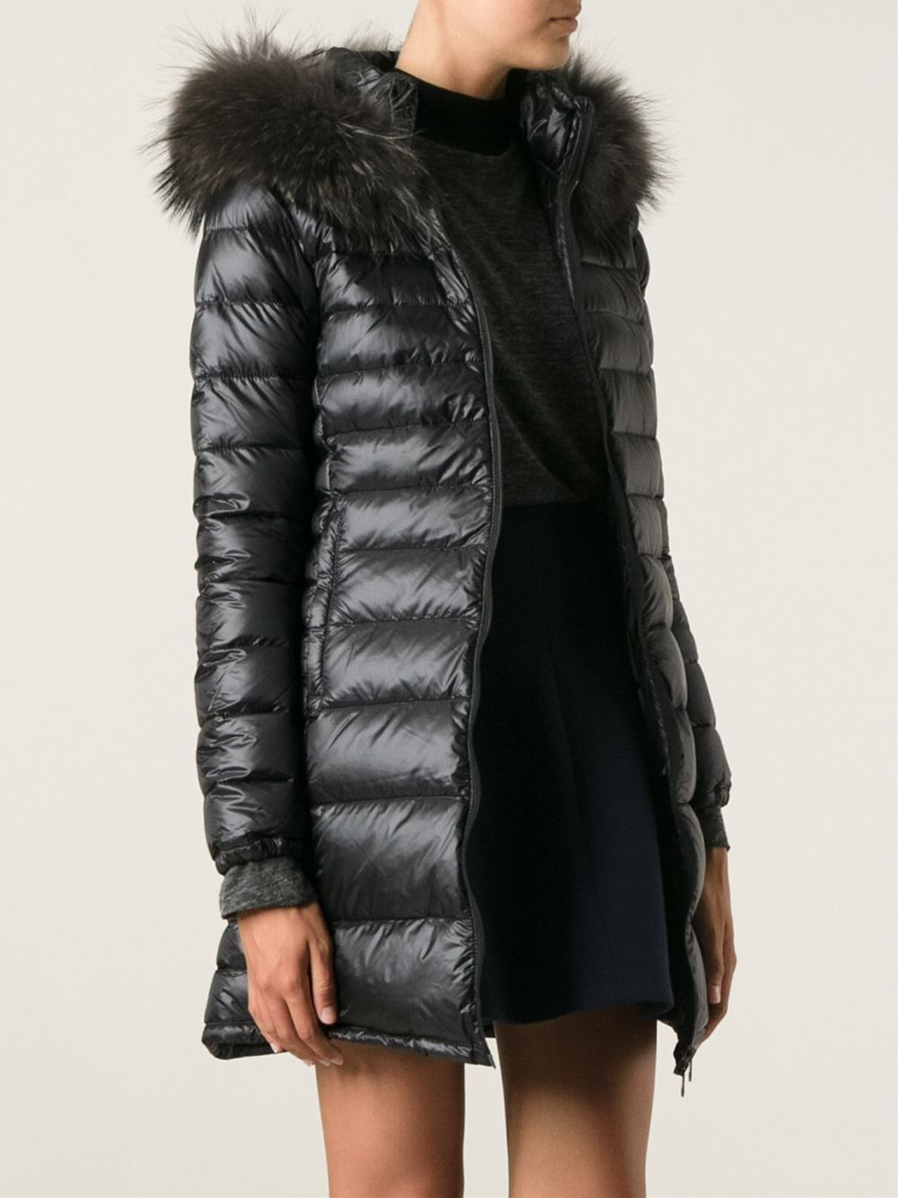 Duvetica Fur Collar Padded Coat in Black | Lyst