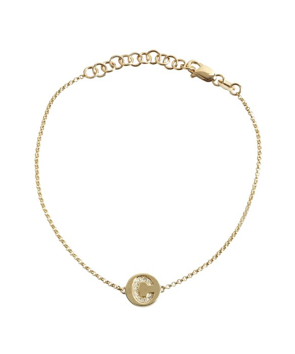 Lyst kc designs gold and diamond c initial pendant bracelet in gallery mozeypictures Image collections
