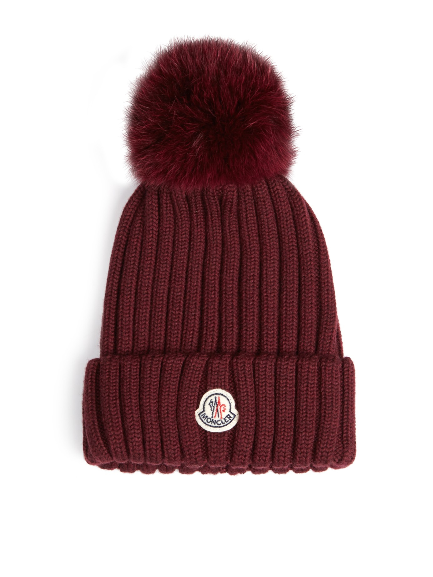 6d958fc6660014 ... cheapest moncler fox fur pompom knitted beanie hat in purple lyst 042d0  667ee