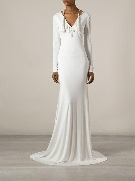 Roberto Cavalli Tassel Detailed Evening Gown In White Lyst