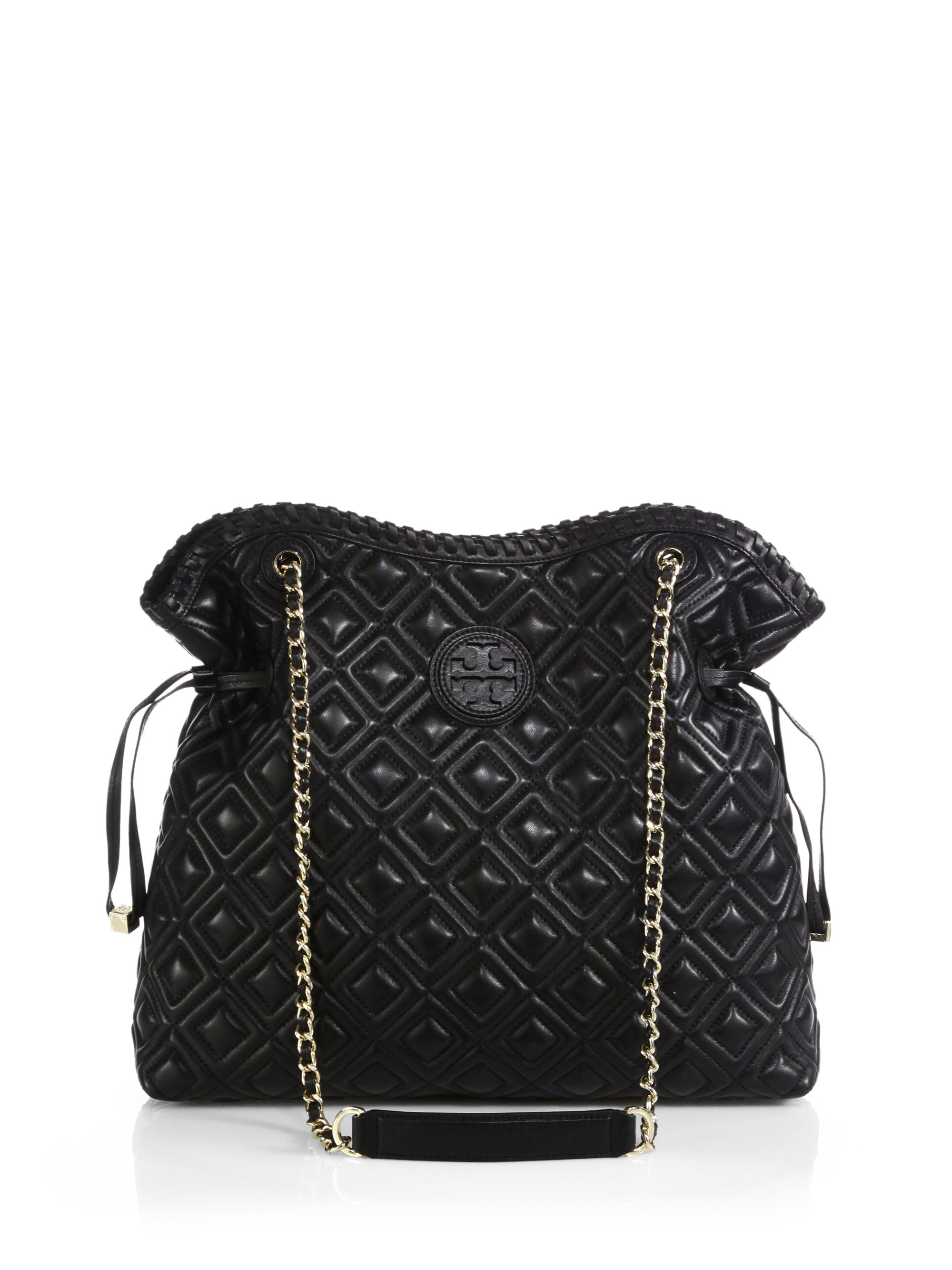 Lyst Tory Burch Marion Quilted Slouchy Tote In Black