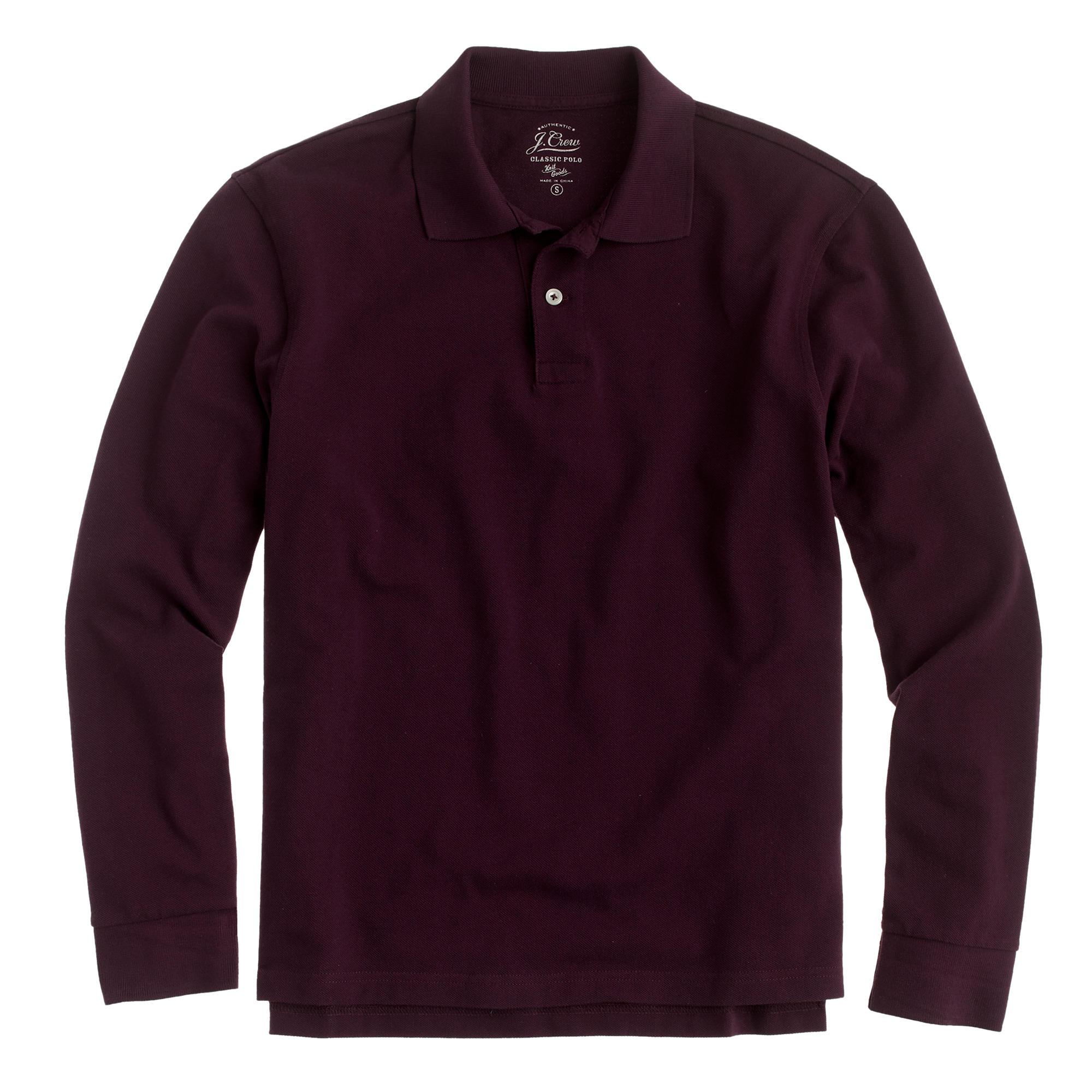 Lyst j crew long sleeve classic piqu polo shirt in for Long sleeve purple polo shirt