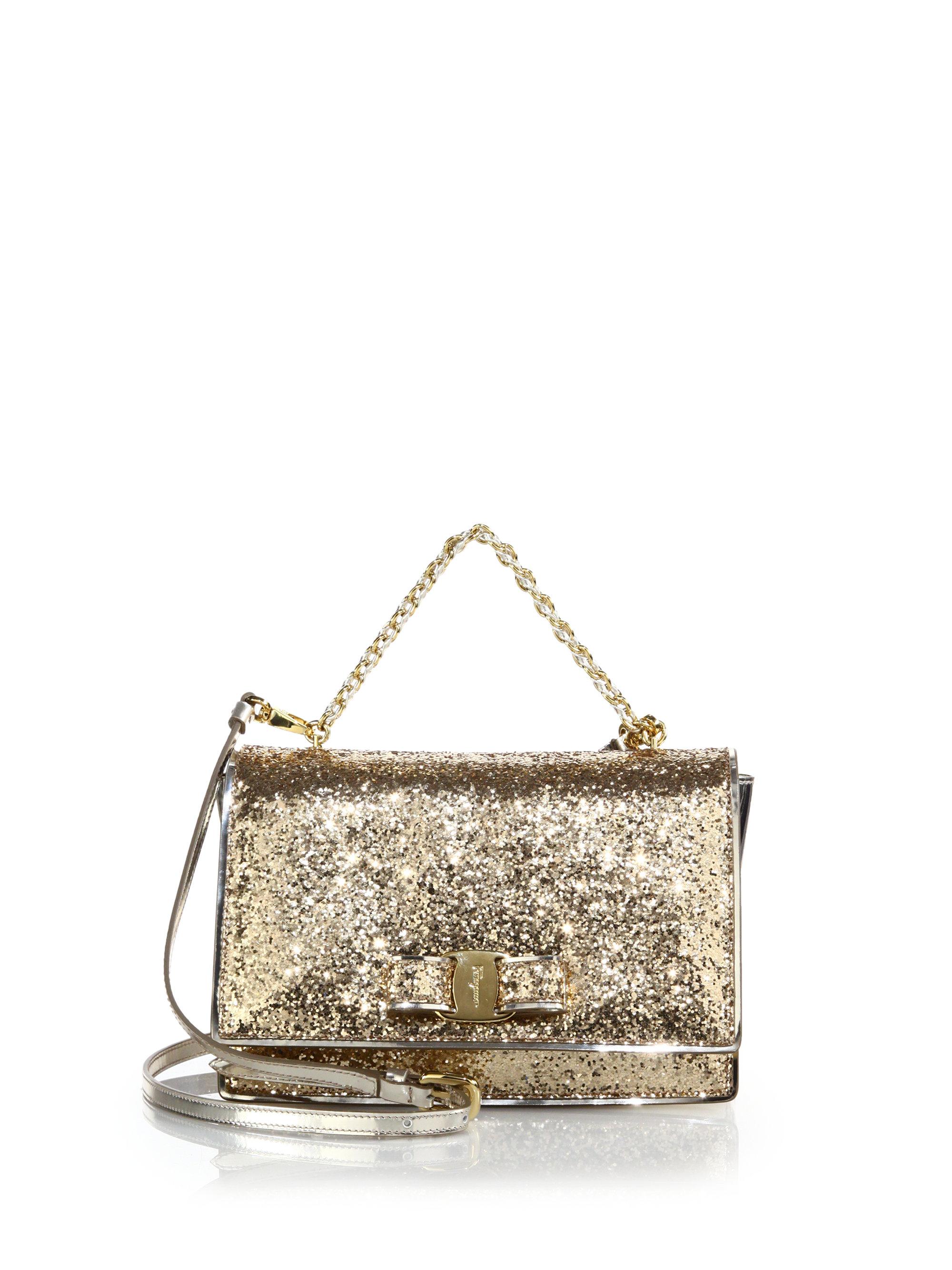 Vara glittered shoulder bag - Metallic Salvatore Ferragamo hKsON7Fdv