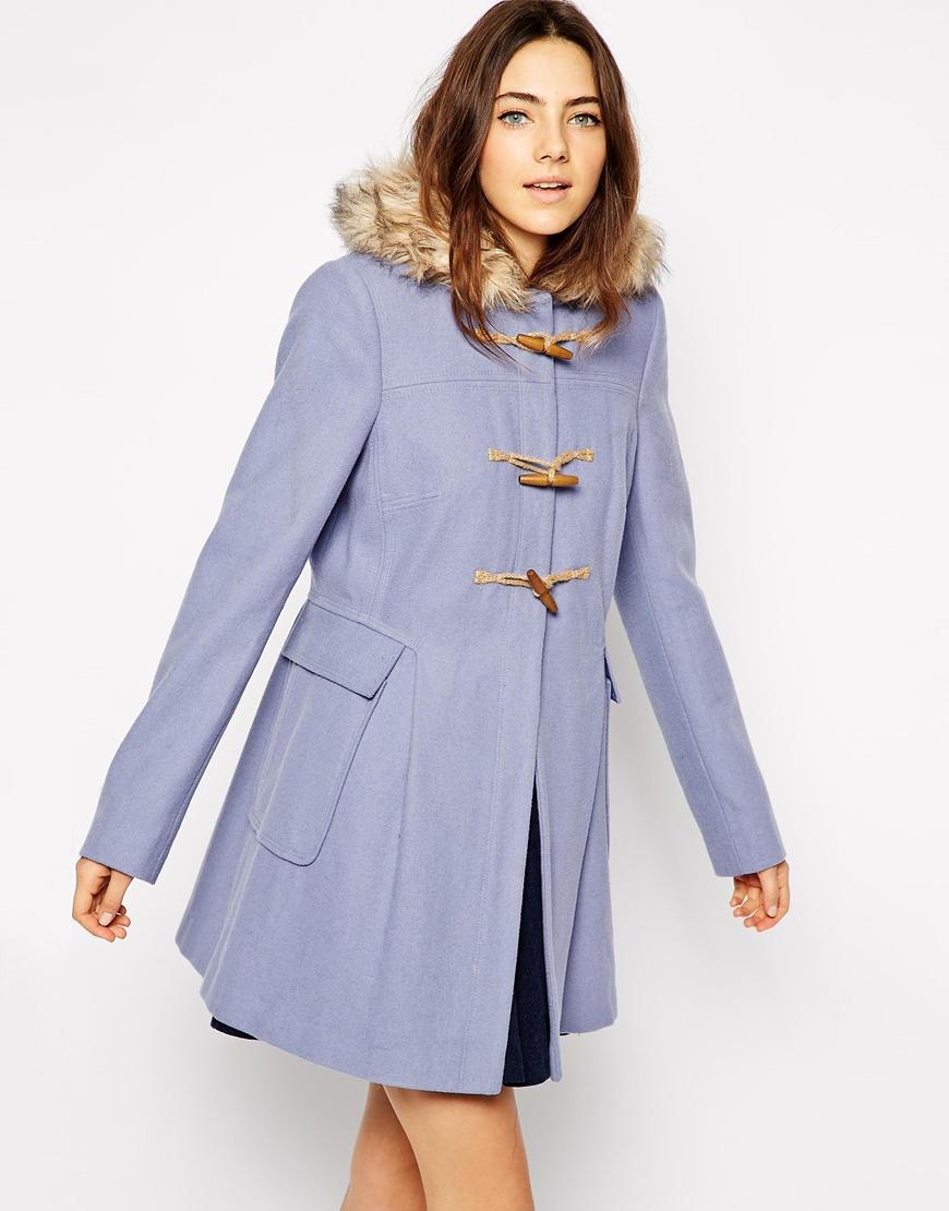 28f19c0b241 Lyst - ASOS Faux Fur Hooded Duffle Coat in Blue