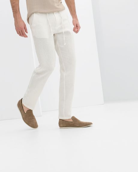 Linen Drawstring Pants For Men Men Zara Drawstring Linen
