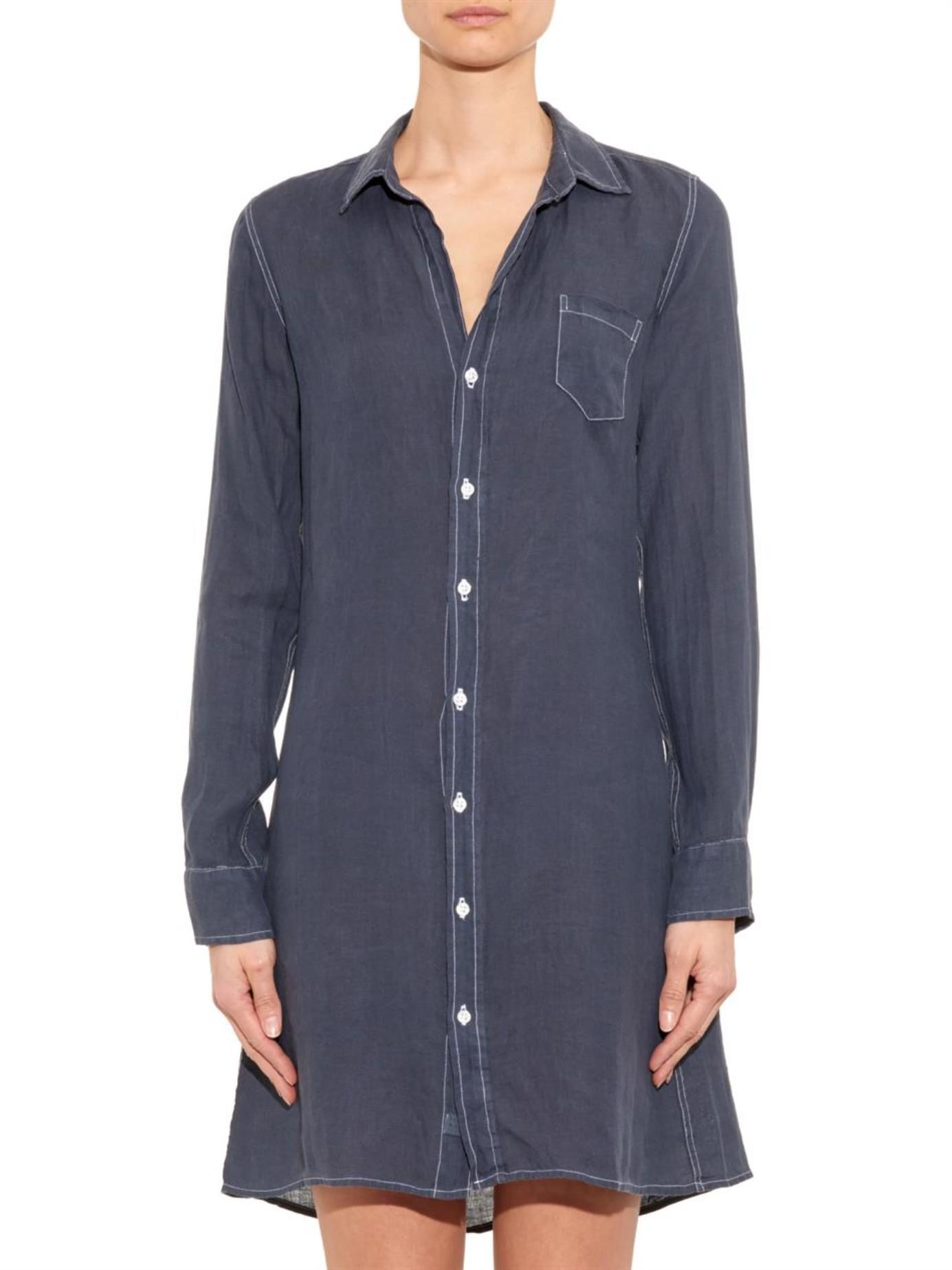 Lyst Frank Eileen Murphy Linen Shirtdress In Blue