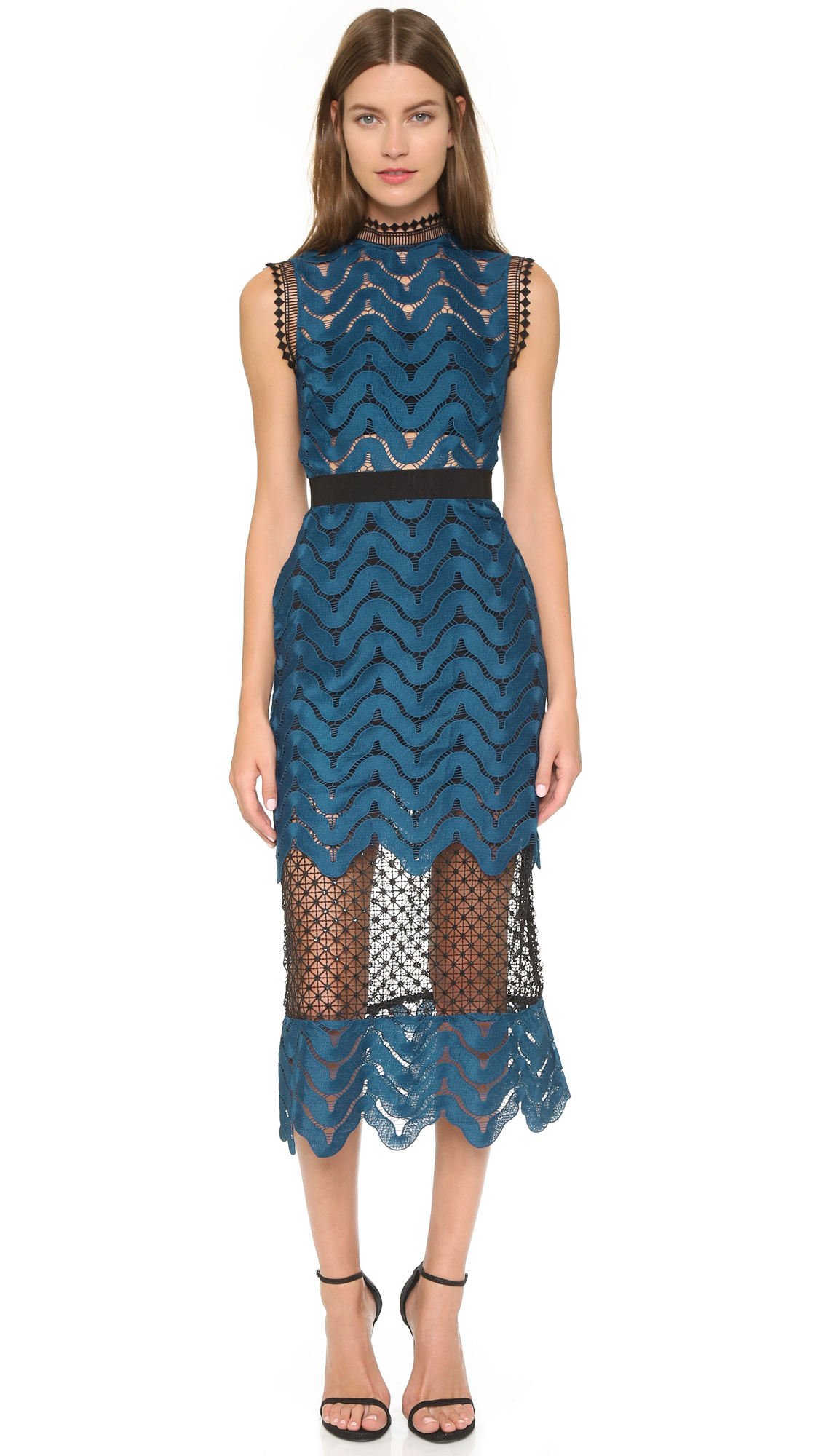 Self Portrait Scallop High Neck Midi Dress Navy In Blue