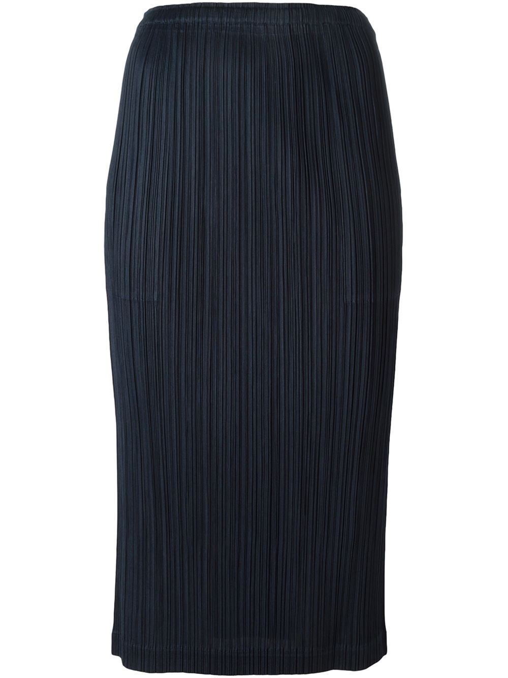 pleats issey miyake pleated pencil skirt in blue lyst