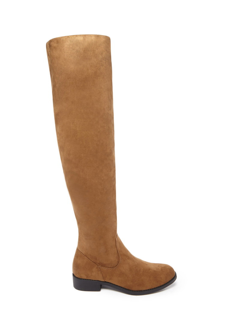 forever 21 the knee faux suede boots in green olive