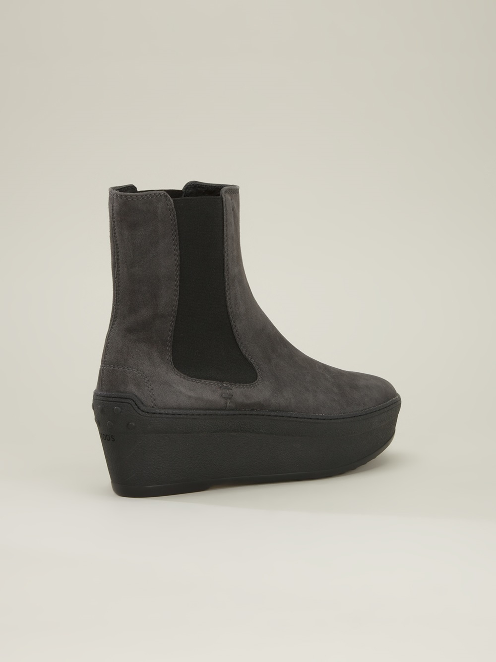 tod 39 s platform chelsea boots in gray lyst. Black Bedroom Furniture Sets. Home Design Ideas