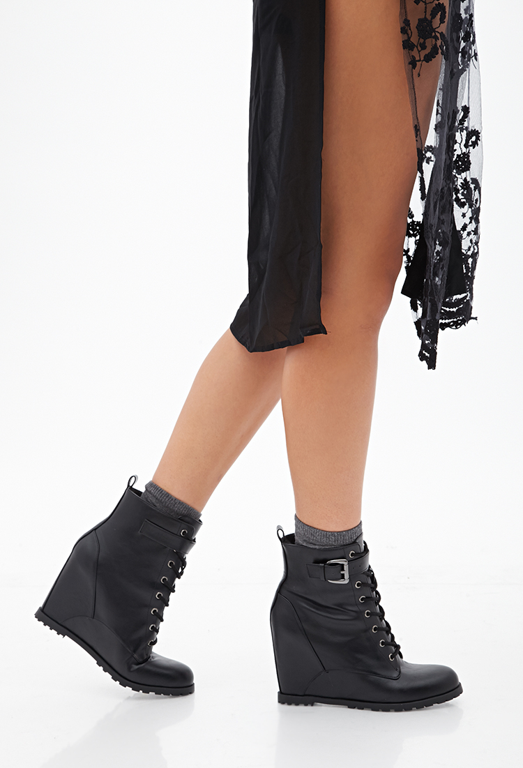 3fdef0fad5ed Lyst - Forever 21 Lace-up Wedge Booties in Black