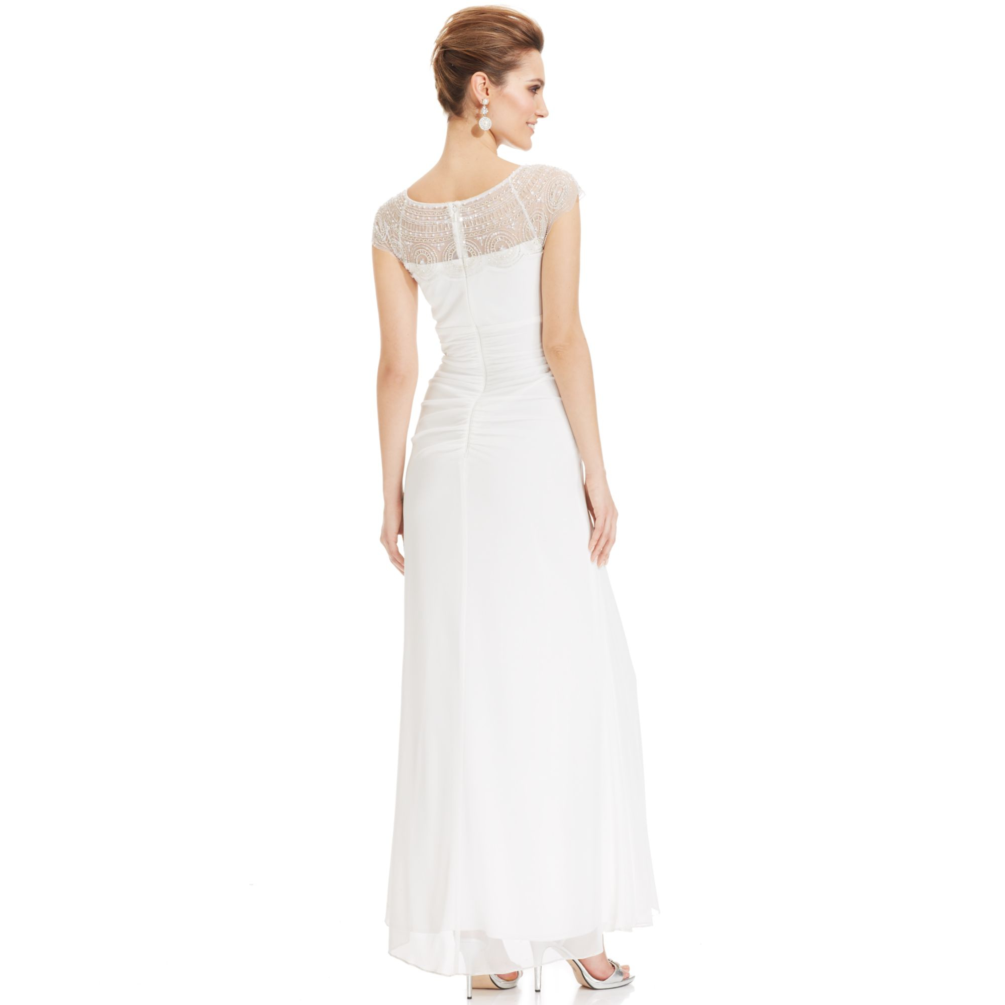 xscape cap sleeve illusion beaded gown in white ivory lyst