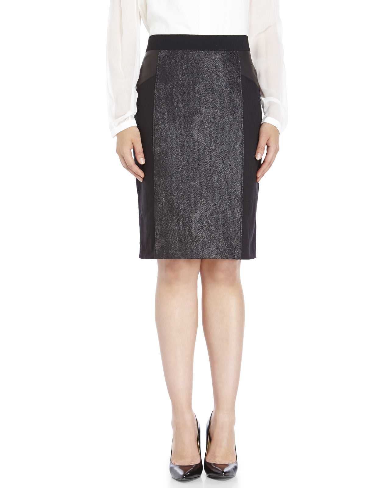 elie tahari tweed leather skirt in black lyst