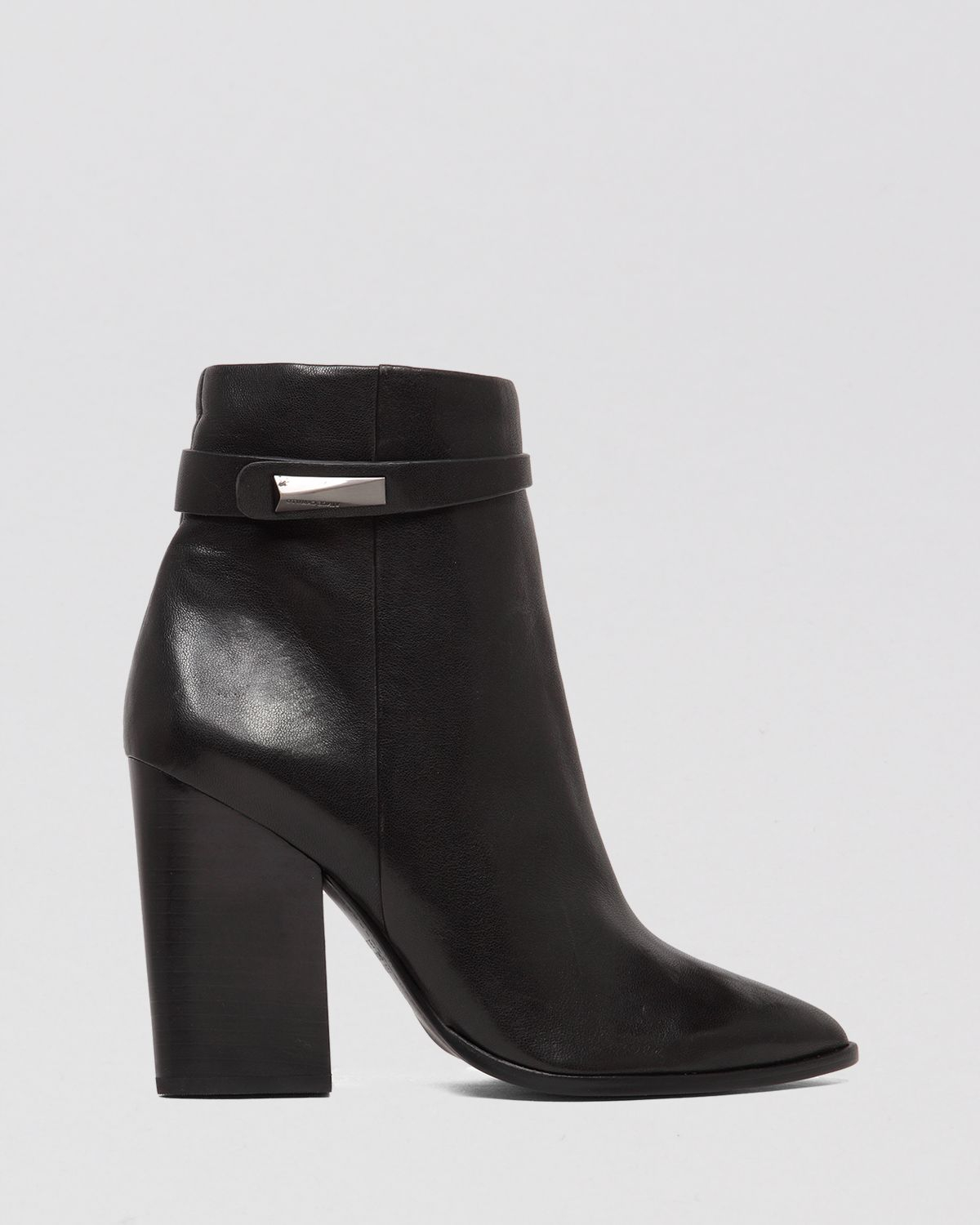 Vince Leather Semi Pointed-Toe Ankle Boots