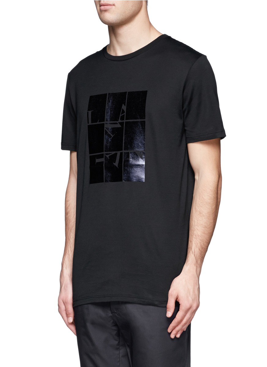 Lyst - Lanvin Metallic Print T-shirt in Black for Men