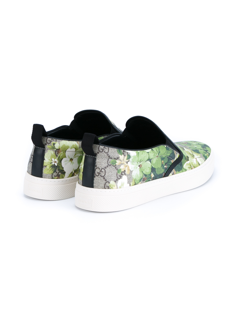 Lyst Gucci Floral Printed Leather Shoes In Green For Men