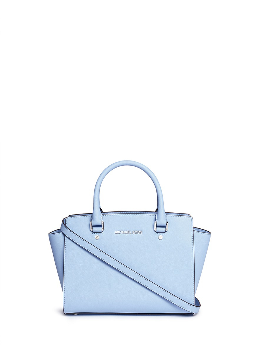 68c07a4c049552 Michael Kors 'selma' Medium Saffiano Leather Satchel in Blue - Lyst