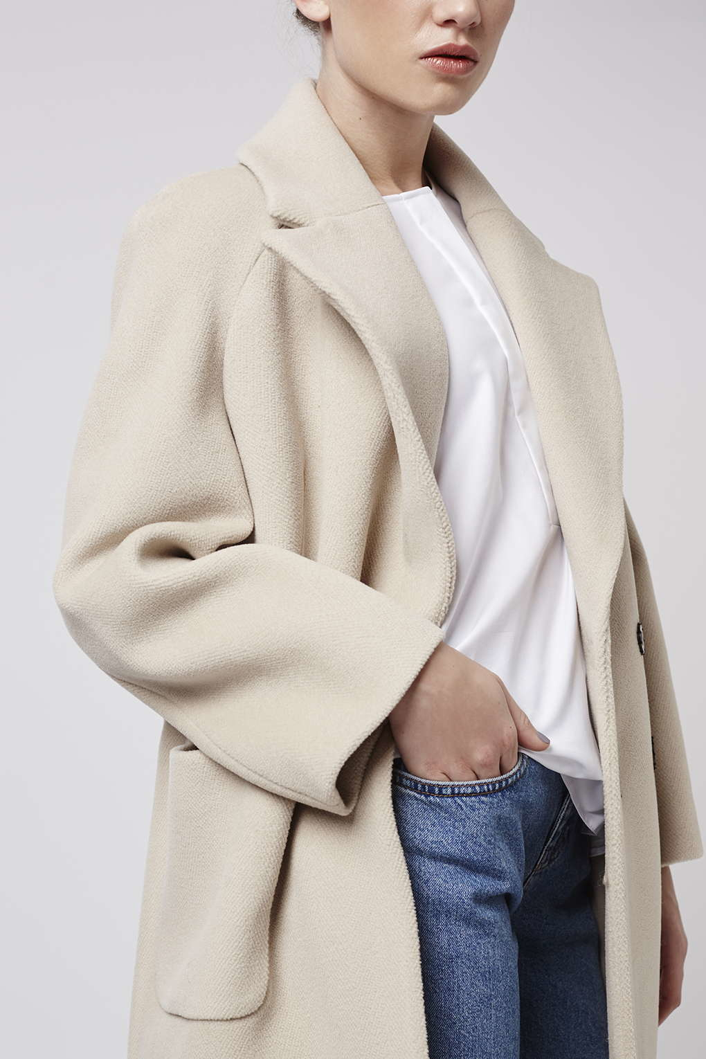 Topshop Textured Melton Coat By Boutique in Natural | Lyst