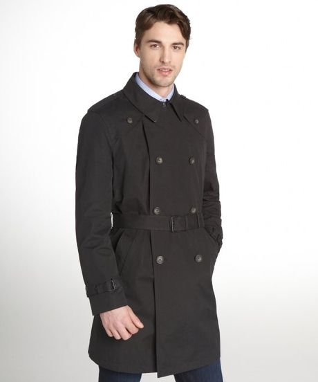 tommy hilfiger black double breasted belted trench coat in. Black Bedroom Furniture Sets. Home Design Ideas