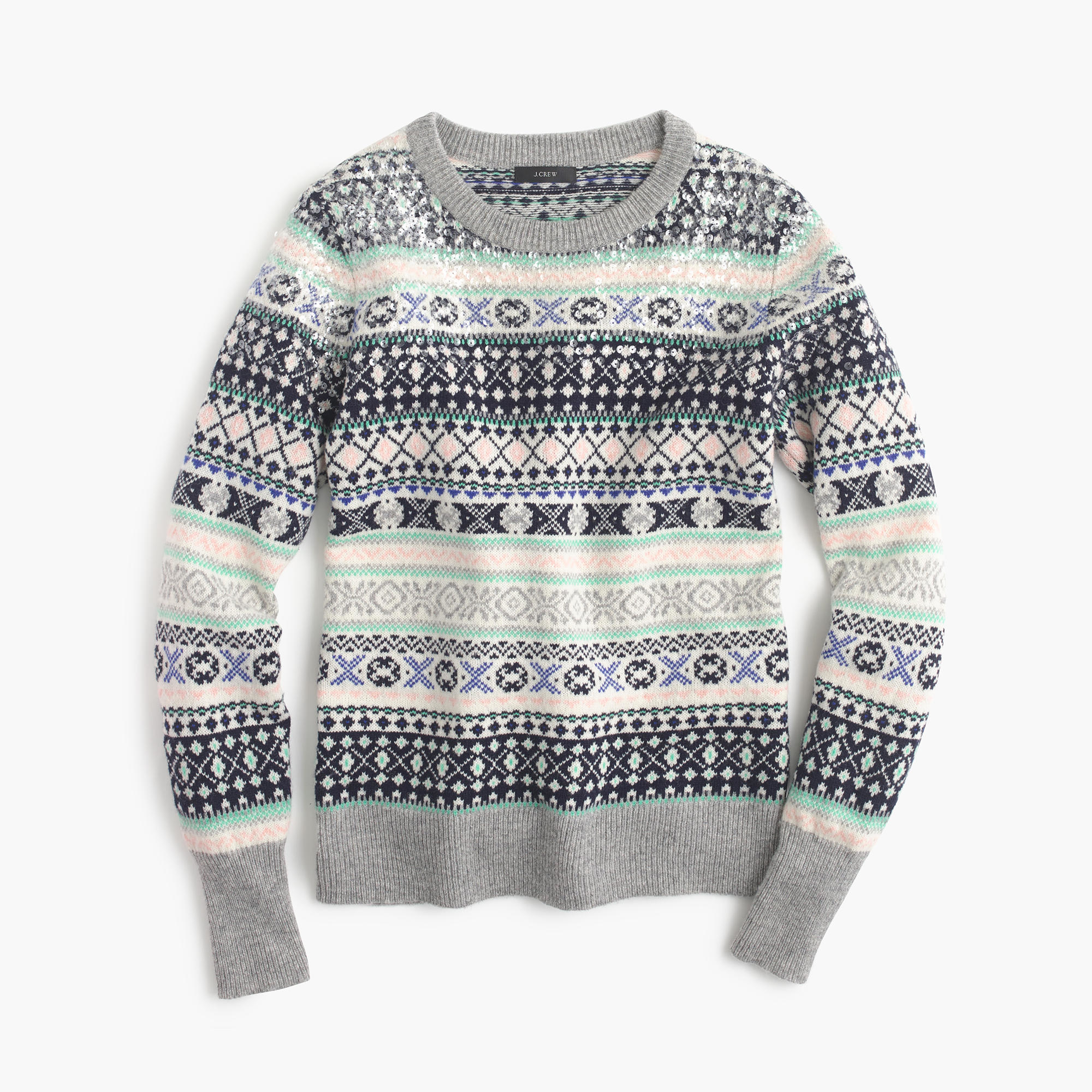 J.crew Petite Sequin Fair Isle Sweater in Gray | Lyst