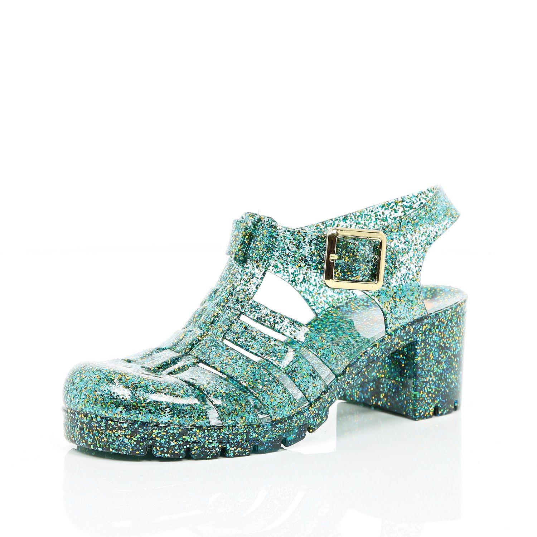 Green Glitter Block Heel Jelly Shoes