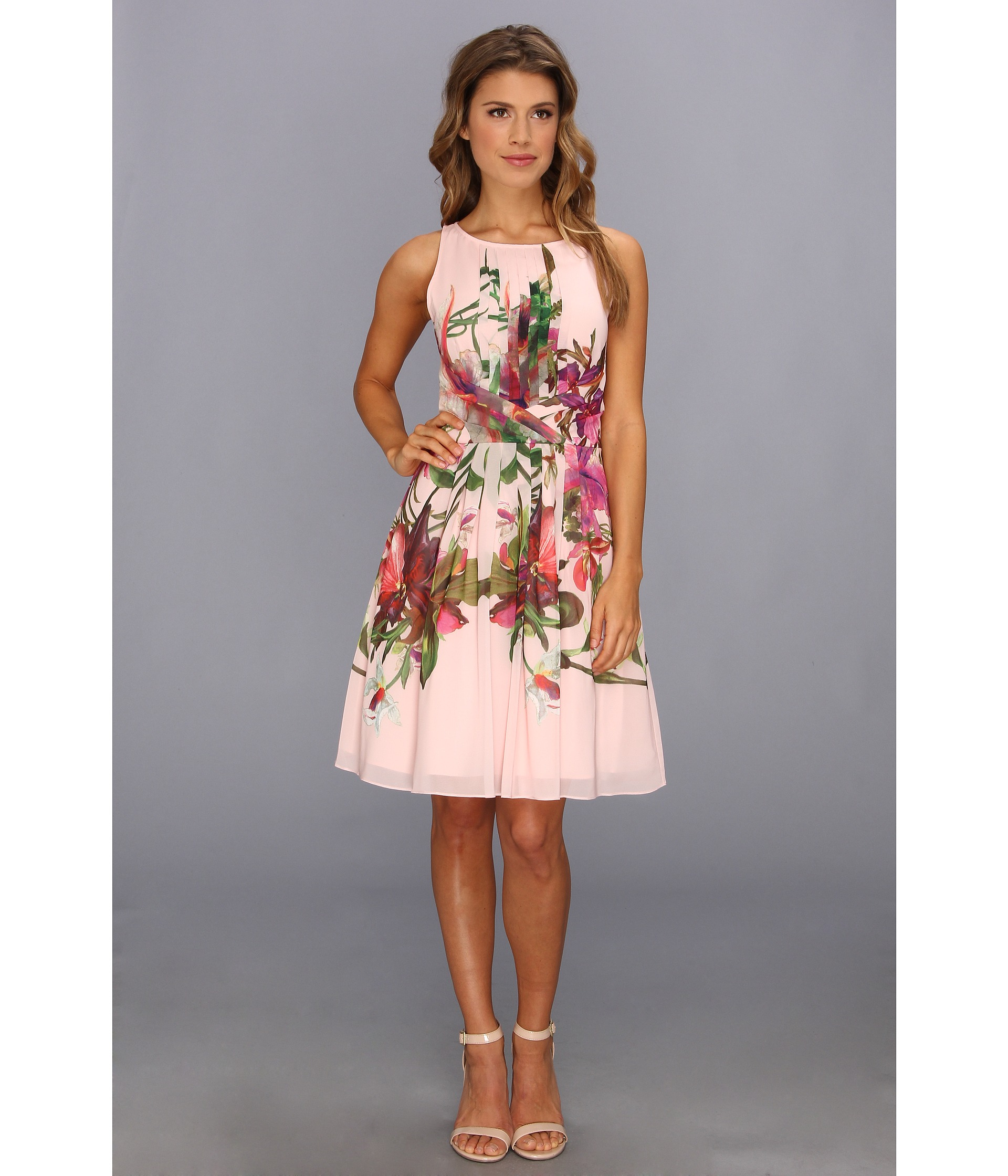 425eb0ad76320f Lyst - Ted Baker Carlii Symmetrical Orchid Print Dress