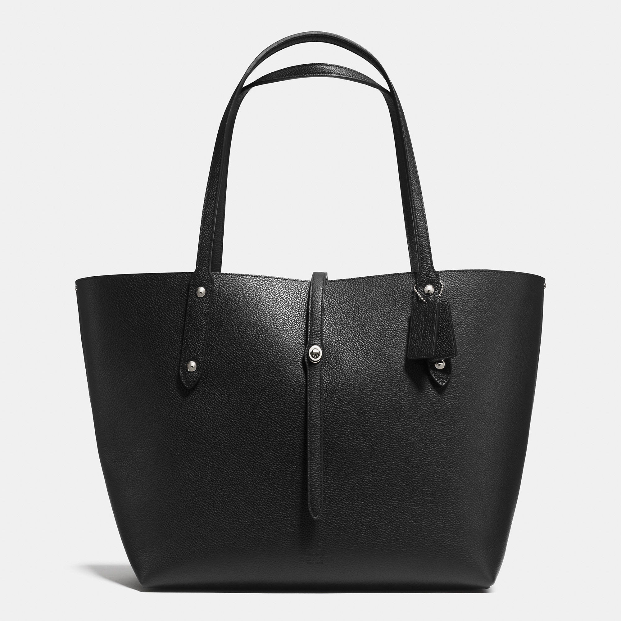 Lyst - COACH Market Tote In Printed Pebble Leather in Black
