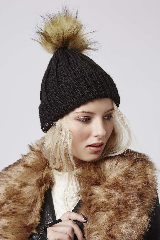 261cf6ca13c Lyst - TOPSHOP Faux Fur Pom Beanie in Black