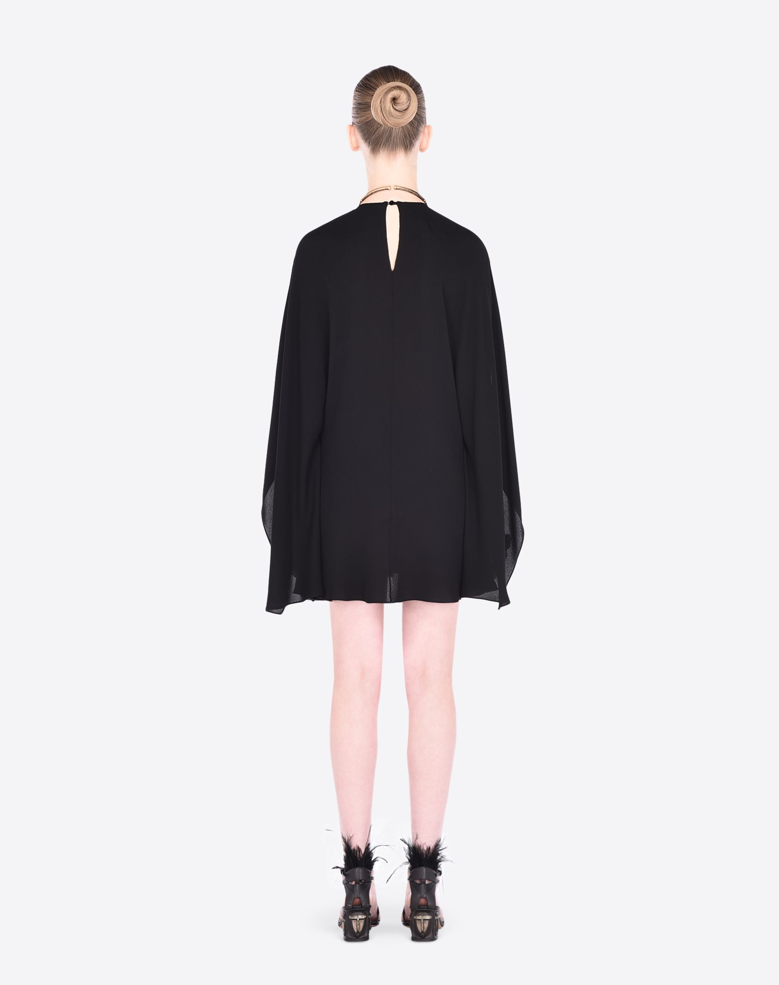 valentino georgette dress with draping in black lyst