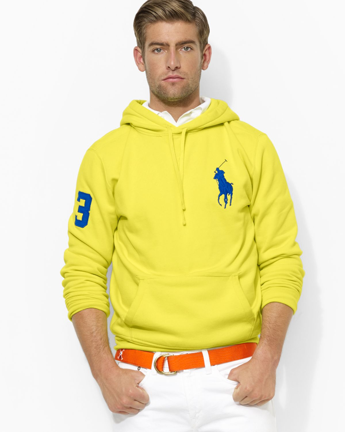 743eb1a0f Ralph lauren Polo Big Pony Beach Fleece Pullover Hoodie in Yellow for Men