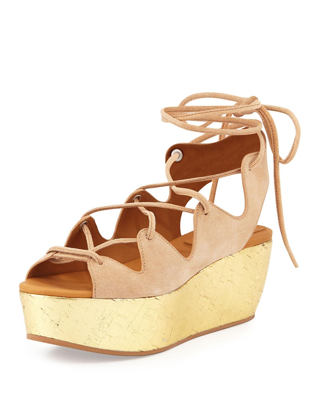 599bb24940f Lyst - See By Chloé Liane Golden Cork Wedge Sandal in Metallic