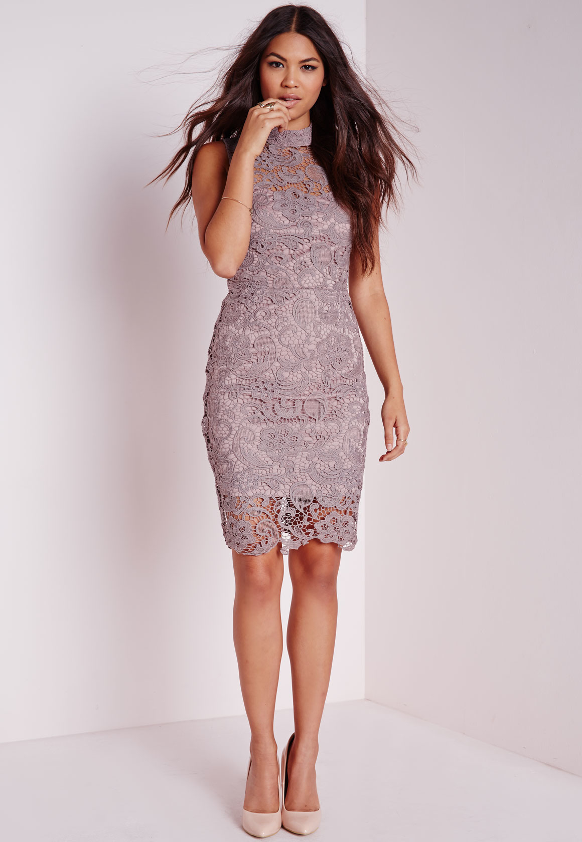cf4be6f5f631 Lyst - Missguided Lace Sleeveless High Neck Bodycon Dress Mauve in ...