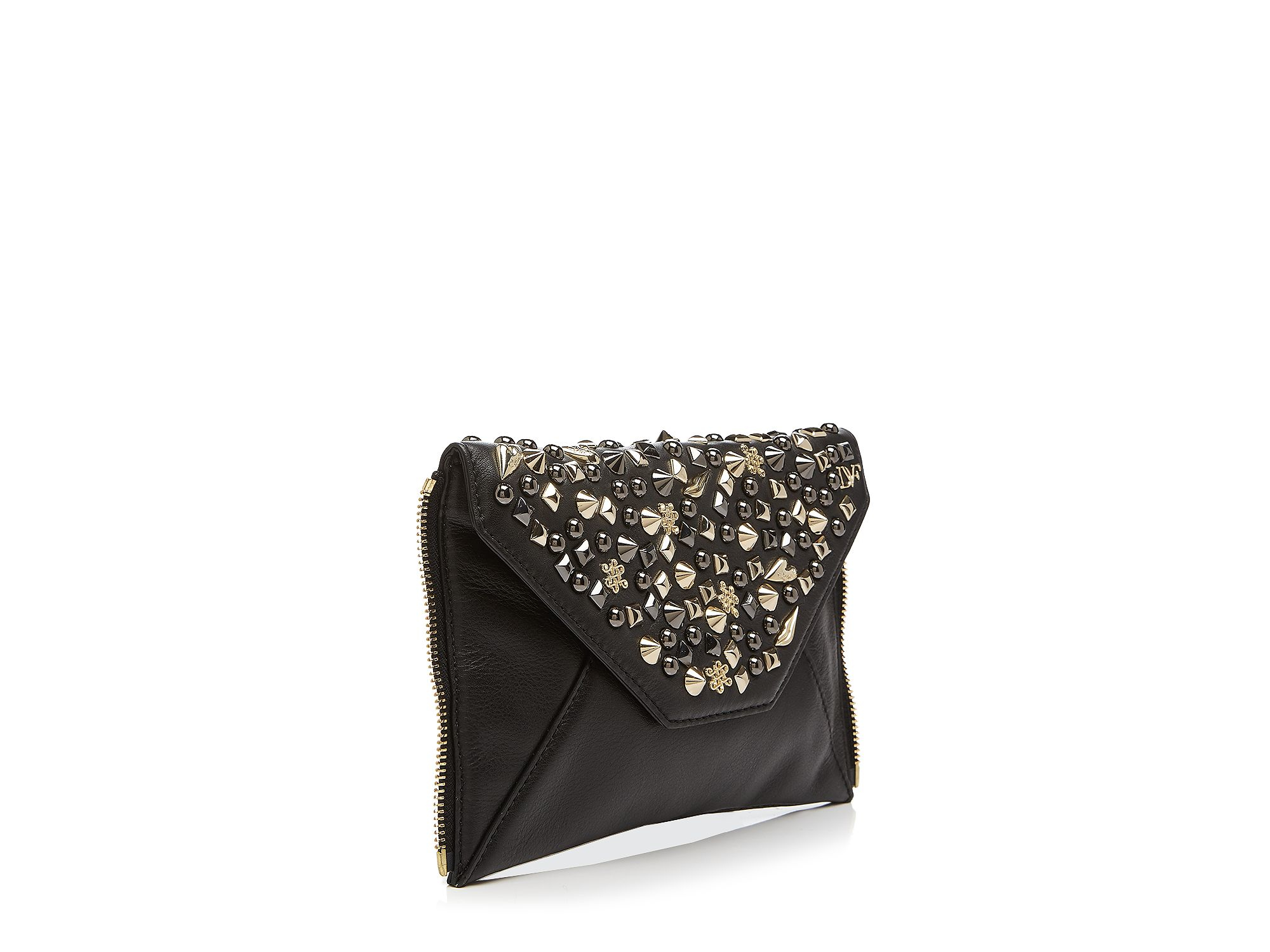 95642bbcd270 Lyst - Diane von Furstenberg Secret Agent Stud Zip Out Clutch in Black