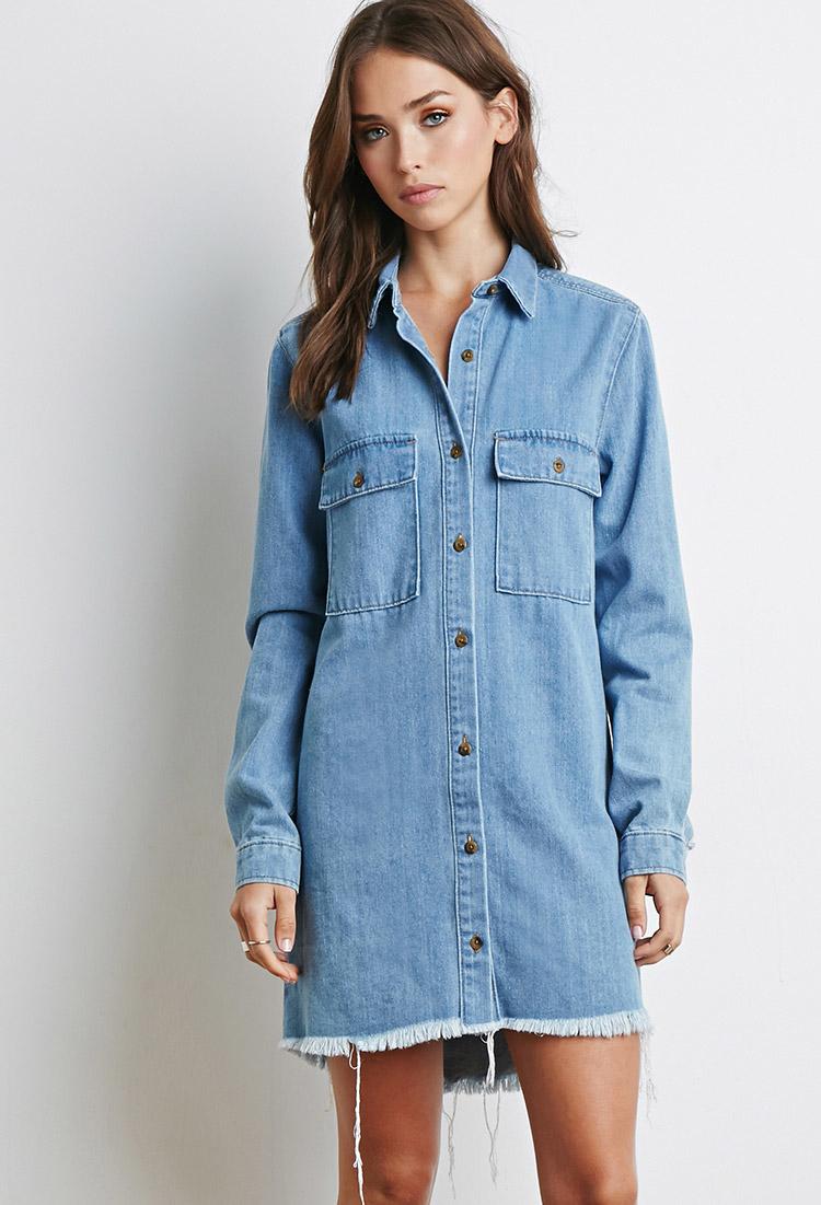 aa652d95f26f6 Lyst - Forever 21 Frayed Denim Shirt Dress in Blue